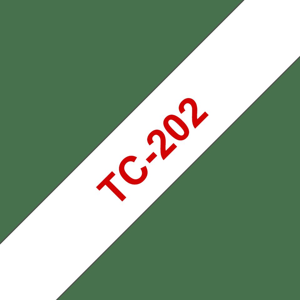 Casetă cu bandă de etichete originală Brother TC202 – roșu pe alb de 12mm lățime