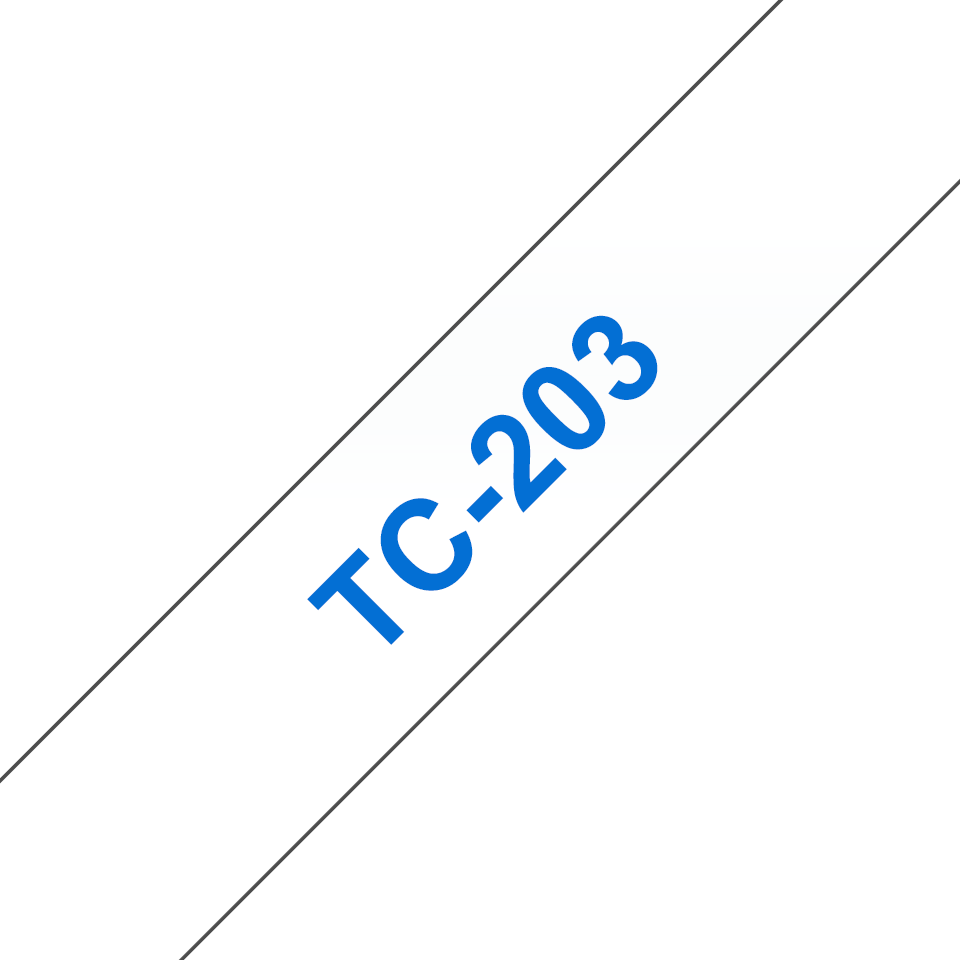 Casetă cu bandă de etichete originală Brother TC203 – albastru pe alb de 12 mm lățime