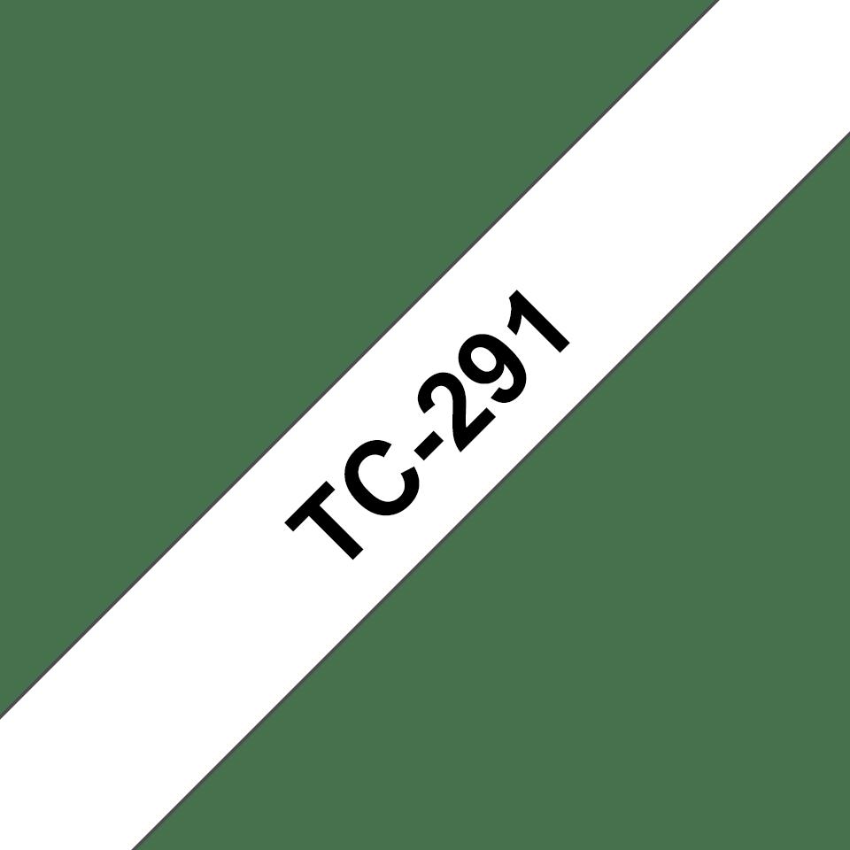 Casetă cu bandă de etichete originală Brother TC291 – negru pe alb de 9mm lățime