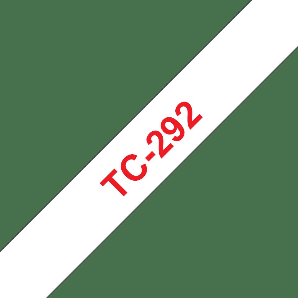 Casetă cu bandă de etichete originală Brother TC292 – roșu pe alb de 9 mm lățime