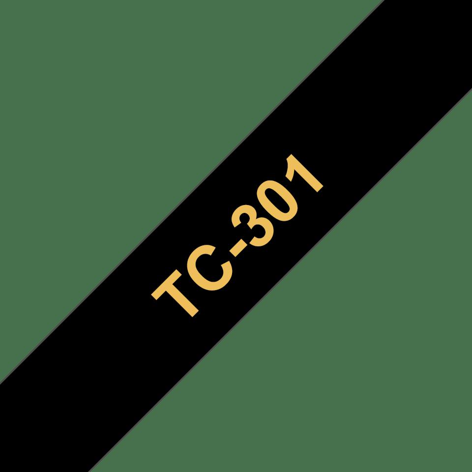 Casetă cu bandă de etichete originală Brother TC301 – auriu pe negru de 12 mm lățime