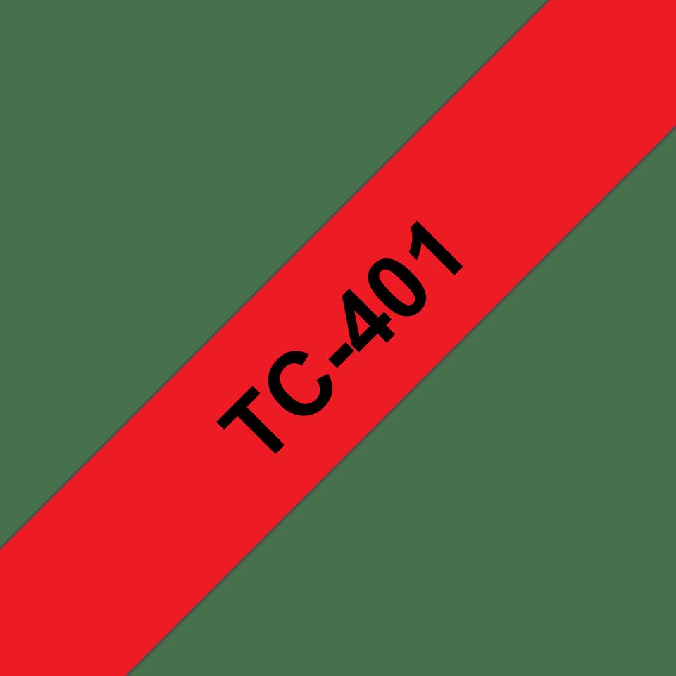 Casetă cu bandă de etichete originală Brother TC401 – negru pe roșu de 12 mm lățime
