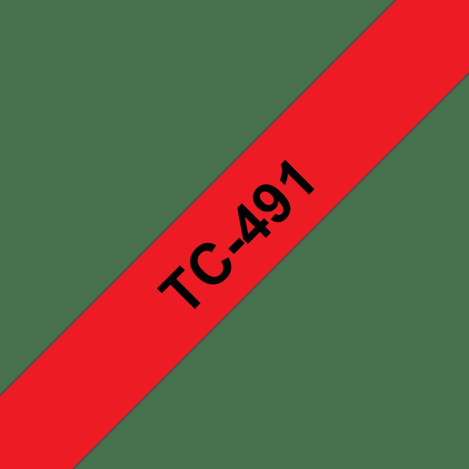 Casetă cu bandă de etichete originală Brother TC491 – negru pe roșu de 9mm lățime