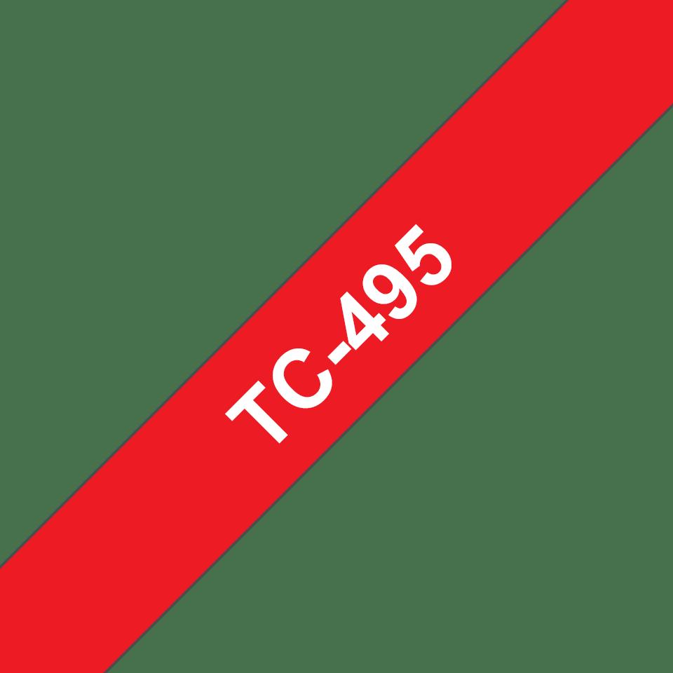 Casetă cu bandă de etichete originală Brother TC495 – alb pe roșu de 9mm lățime