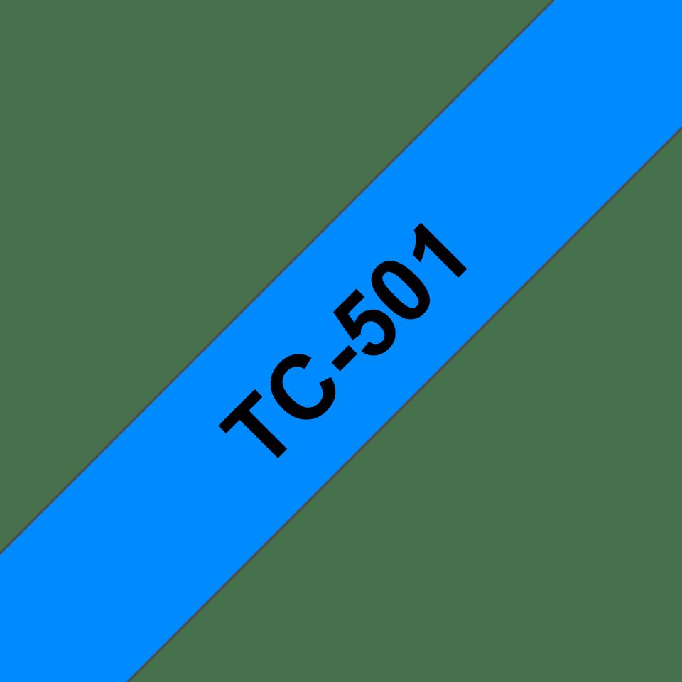 Casetă cu bandă de etichete originală Brother TC501 – negru pe albastru de 12mm lățime