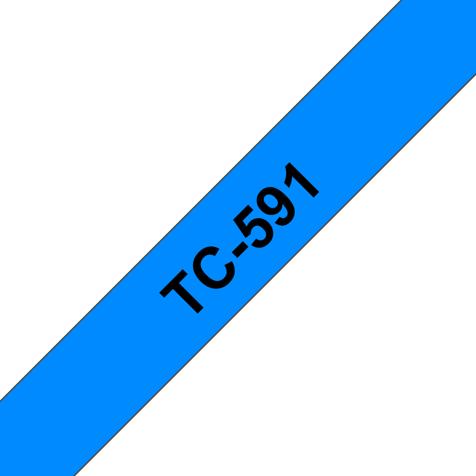 Casetă cu bandă de etichete originală Brother TC591 – negru pe albastru de 9mm lățime