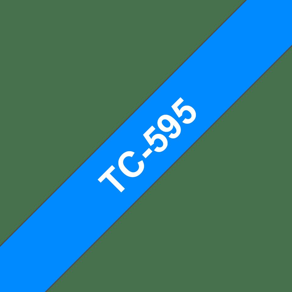 Casetă cu bandă de etichete originală Brother TC595 – alb pe albastru de 9mm lățime