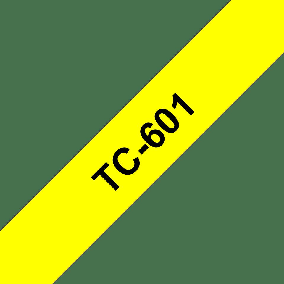 Casetă cu bandă de etichete originală Brother TC601 – negru pe galben de 12mm lățime