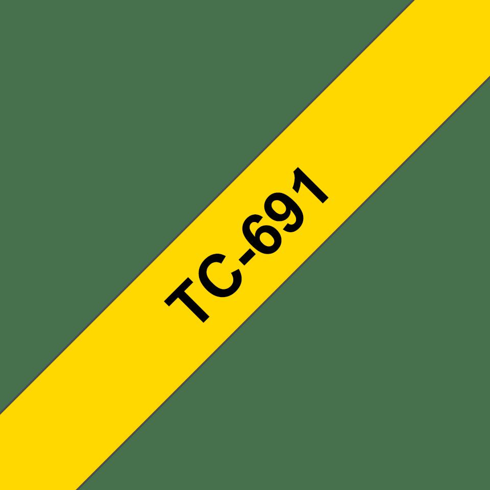 Casetă cu bandă de etichete originală Brother TC691 – negru pe galben de 9mm lățime