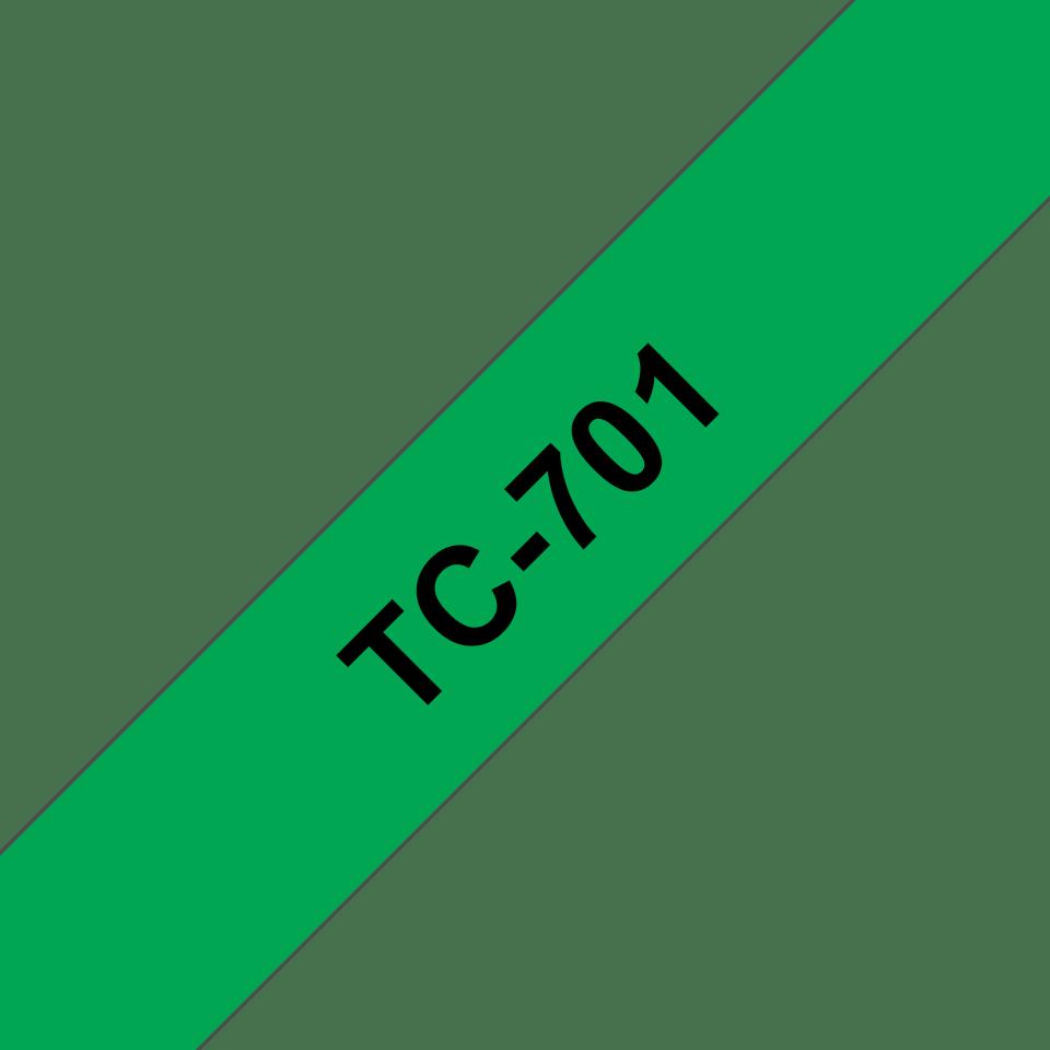 Casetă cu bandă de etichete originală Brother TC701 – negru pe verde de 12 mm lățime