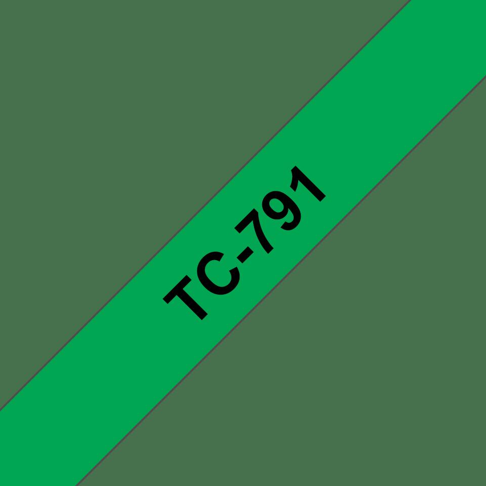 Casetă cu bandă de etichete originală Brother TC791 – negru pe verde de 9mm lățime