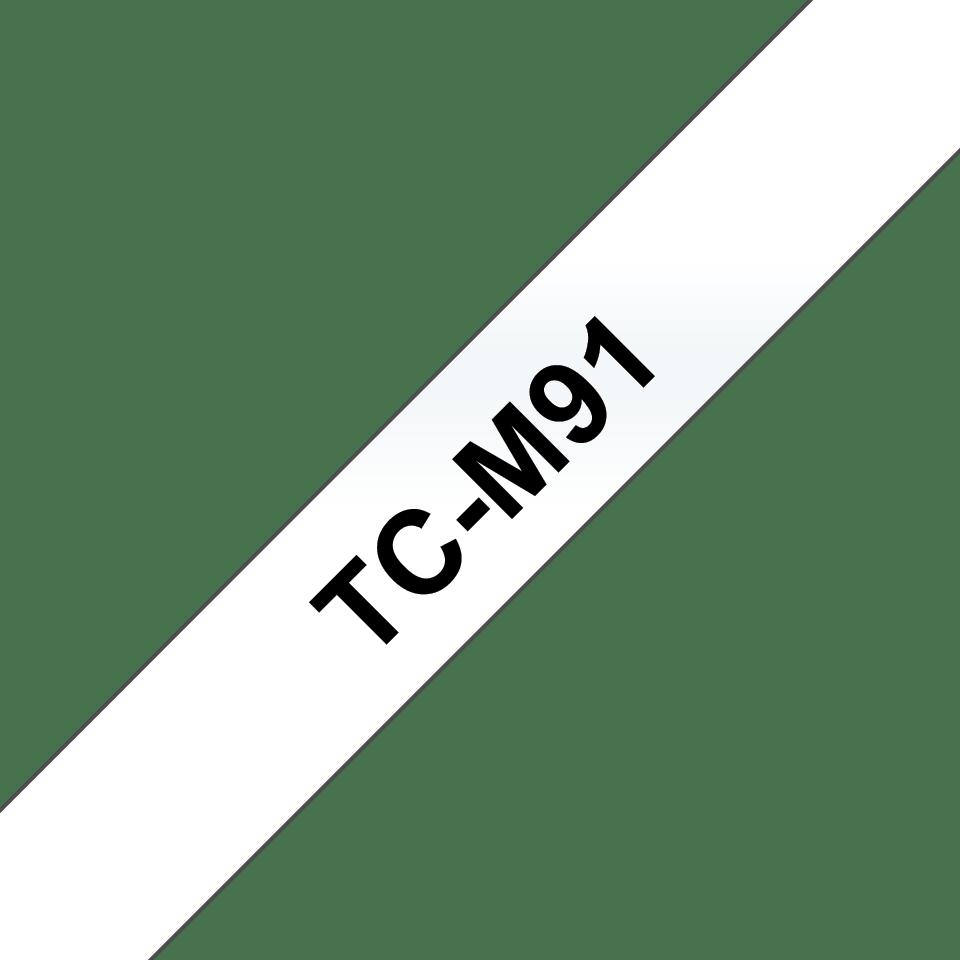 Bandă de etichete laminată adezivă standard Brother TCM91 negru pe transparent – 9mm lățime