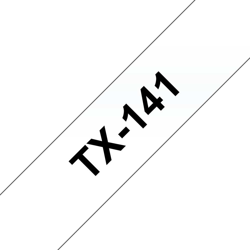 Casetă cu bandă de etichete originală Brother TX141 – negru pe transparent de 18 mm lățime