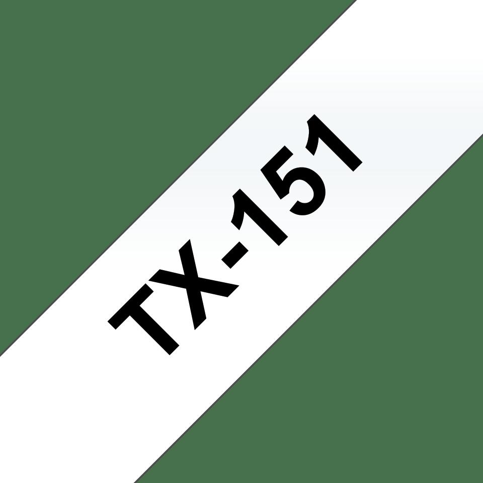 Casetă cu bandă de etichete originală Brother TX151 – negru pe transparent de 24 mm lățime