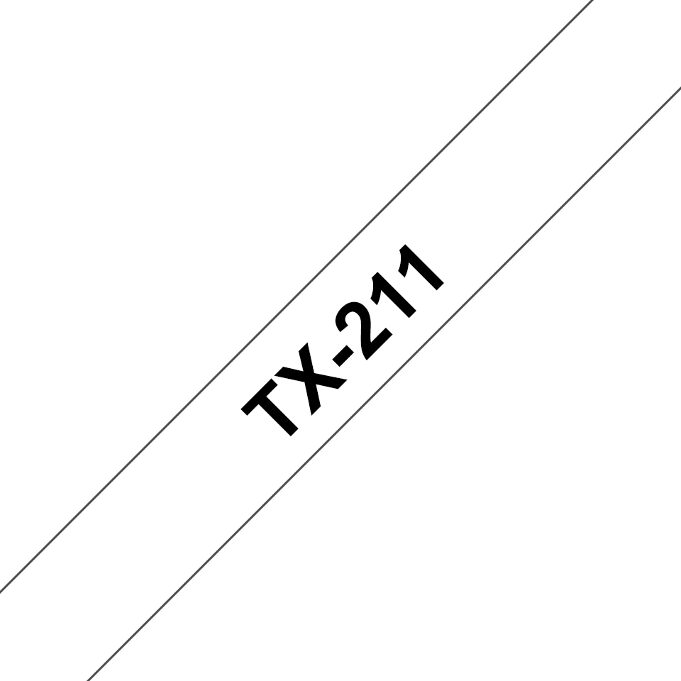 Casetă cu bandă de etichete originală Brother TX211 – negru pe alb de 6 mm lățime
