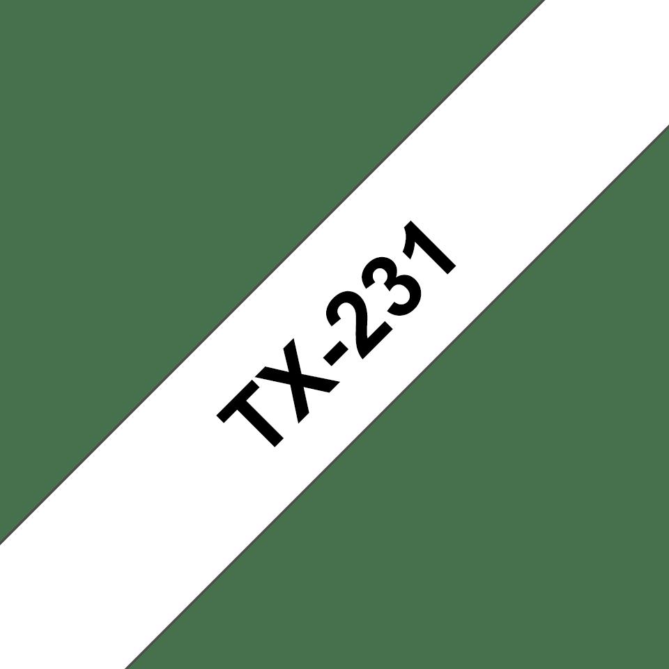 Casetă cu bandă de etichete originală Brother TX231 – negru pe alb de 12 mm lățime