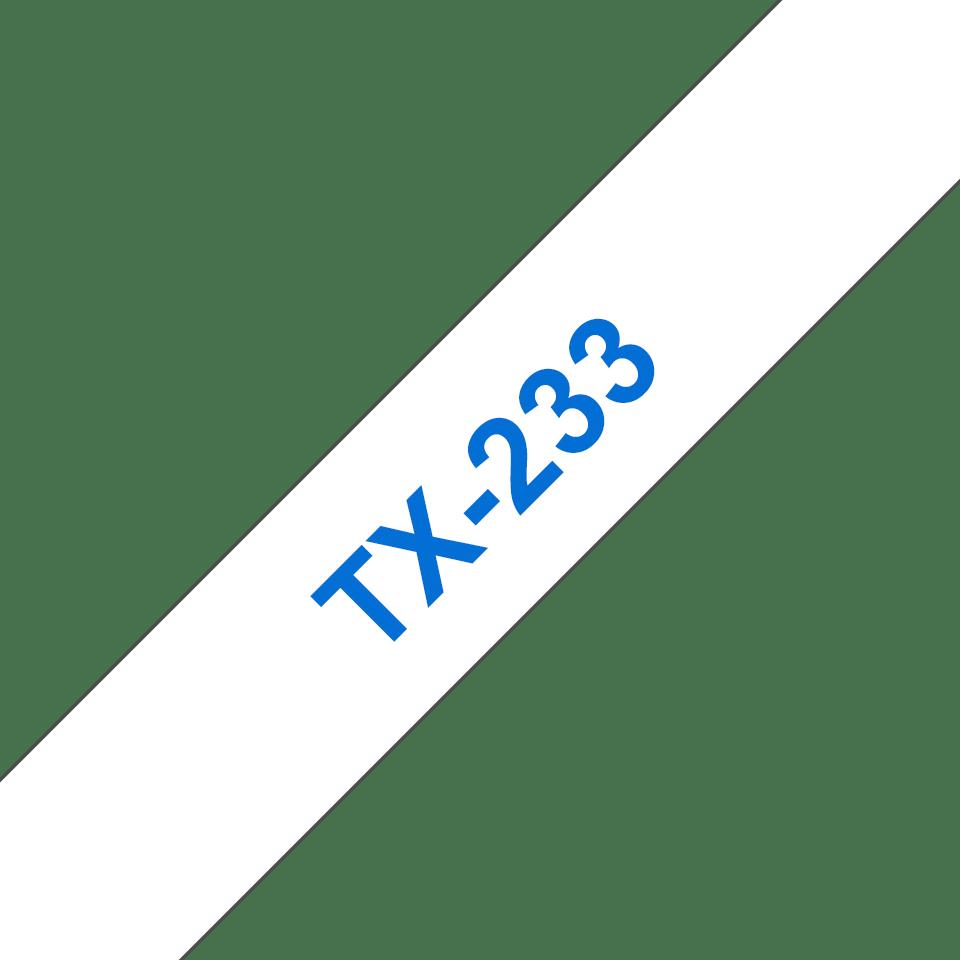 Casetă cu bandă de etichete originală Brother TX233 – albastru pe alb de 12 mm lățime