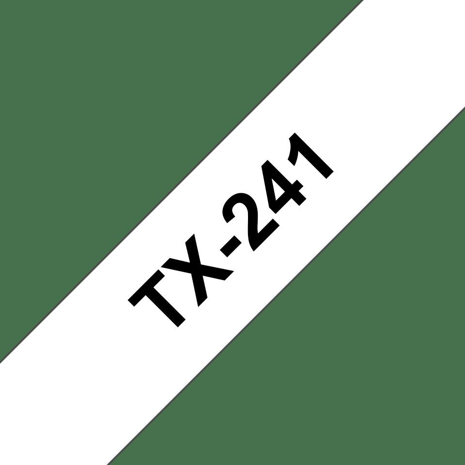 Casetă cu bandă de etichete originală Brother TX241 – negru pe alb de 18 mm lățime