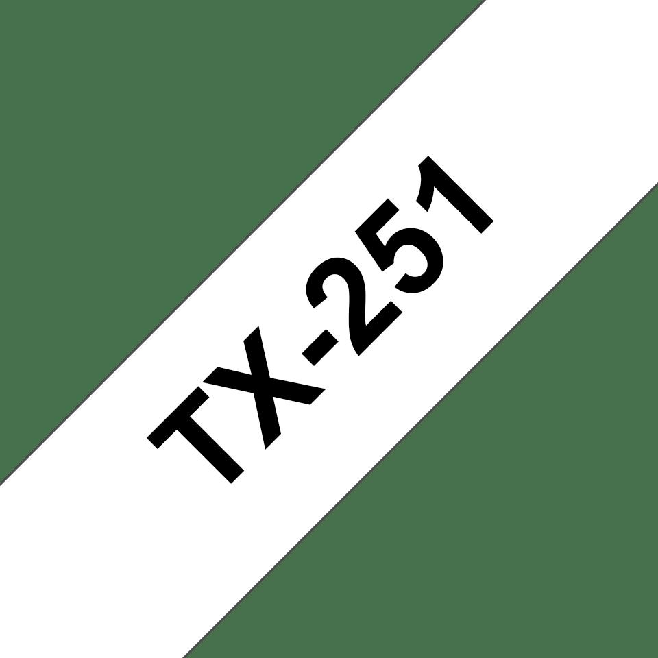 Casetă cu bandă de etichete originală Brother TX-251 – negru pe alb, lățime 24mm