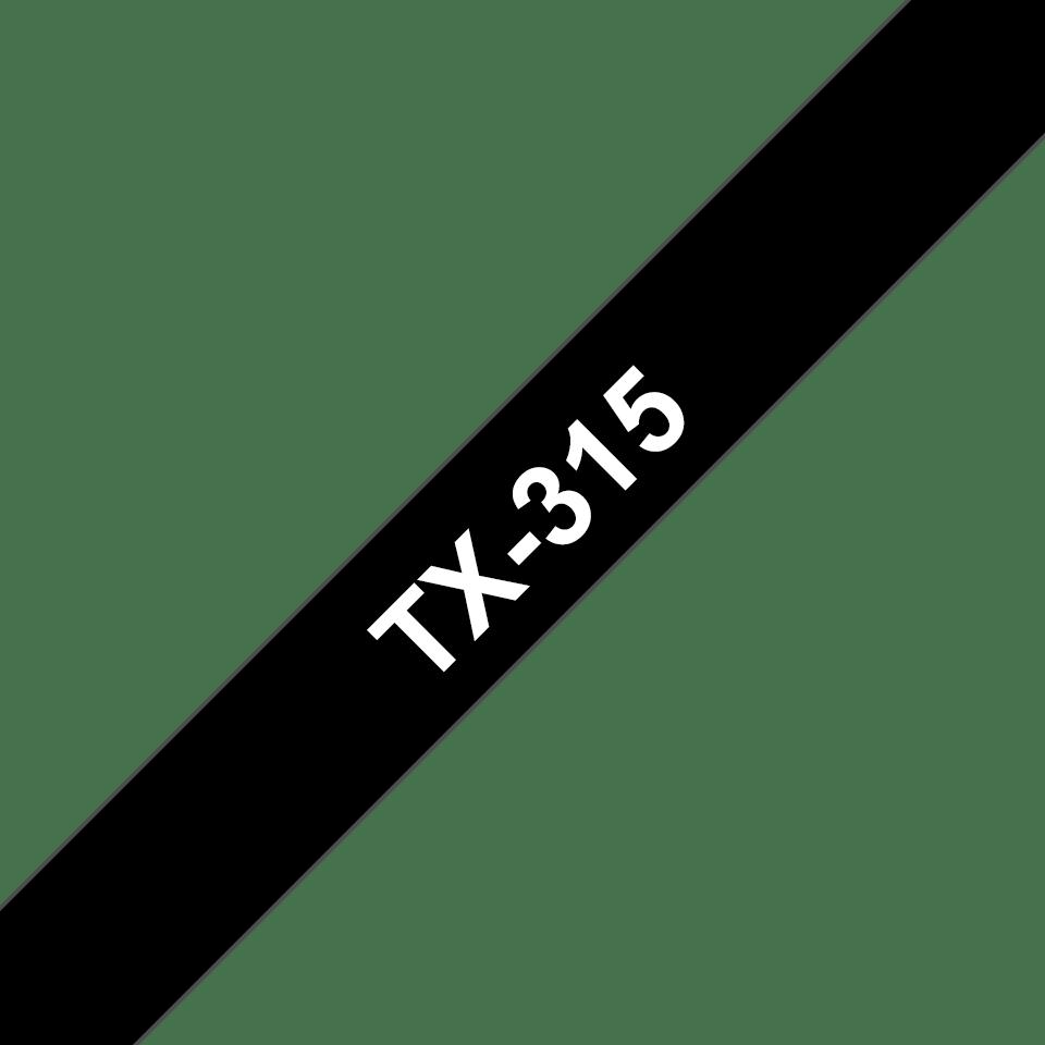 Casetă cu bandă de etichete originală Brother TX315 – alb pe negru de 6 mm lățime