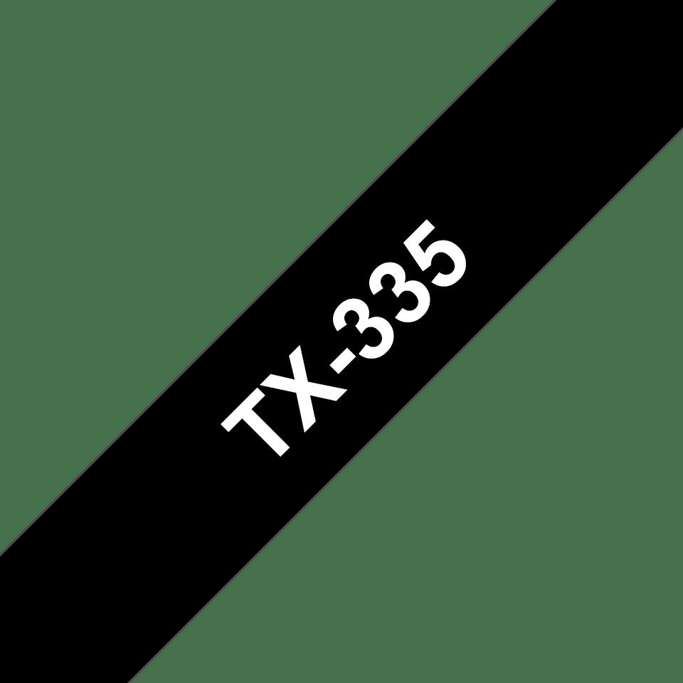 Casetă cu bandă de etichete originală Brother TX335 – alb pe negru de 12 mm lățime
