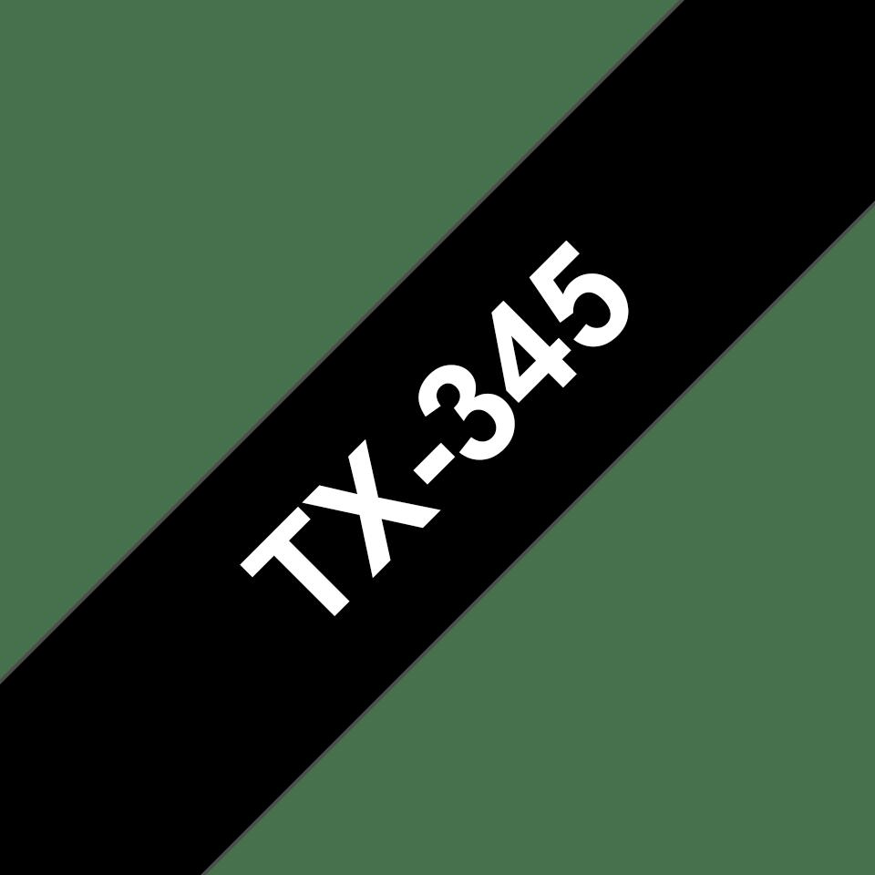 Casetă cu bandă de etichete originală Brother TX345 – alb pe negru de 18 mm lățime