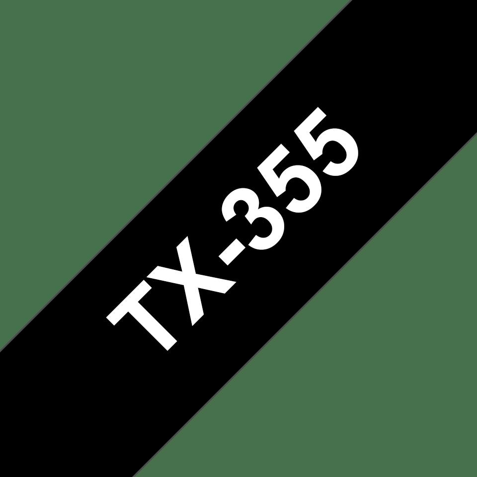 Casetă cu bandă de etichete originală Brother TX355 – alb pe negru de 24 mm lățime