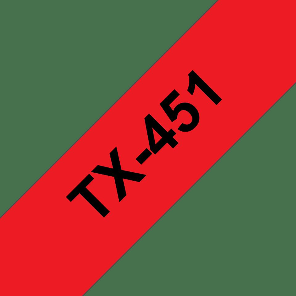 Casetă cu bandă de etichete originală Brother TX451 – negru pe roșu de 24 mm lățime