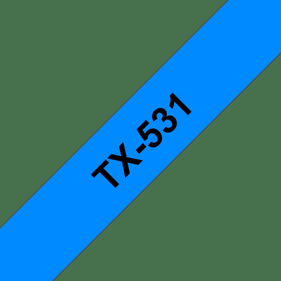 Casetă cu bandă de etichete originală Brother TX531 – negru pe albastru de 12mm lățime