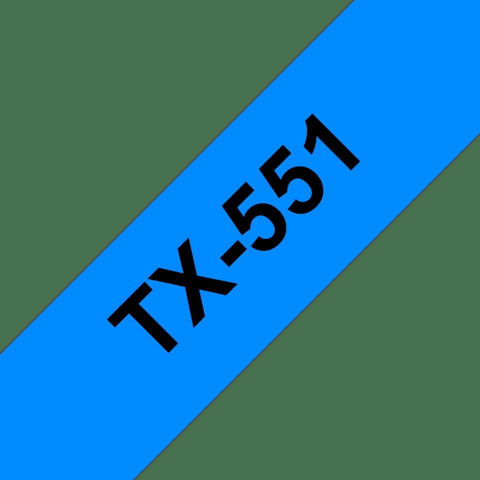 Casetă cu bandă de etichete originală Brother TX551 – negru pe albastru de 24 mm lățime