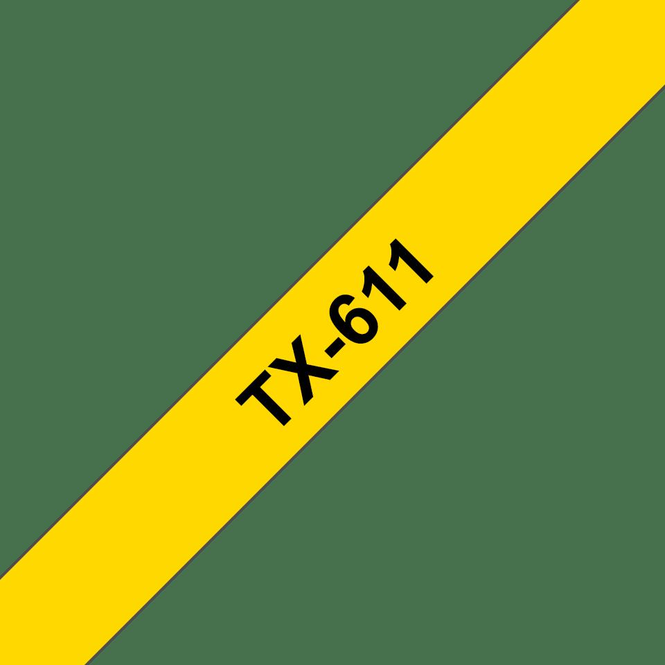 Casetă cu bandă de etichete originală Brother TX611 – negru pe galben de 6 mm lățime