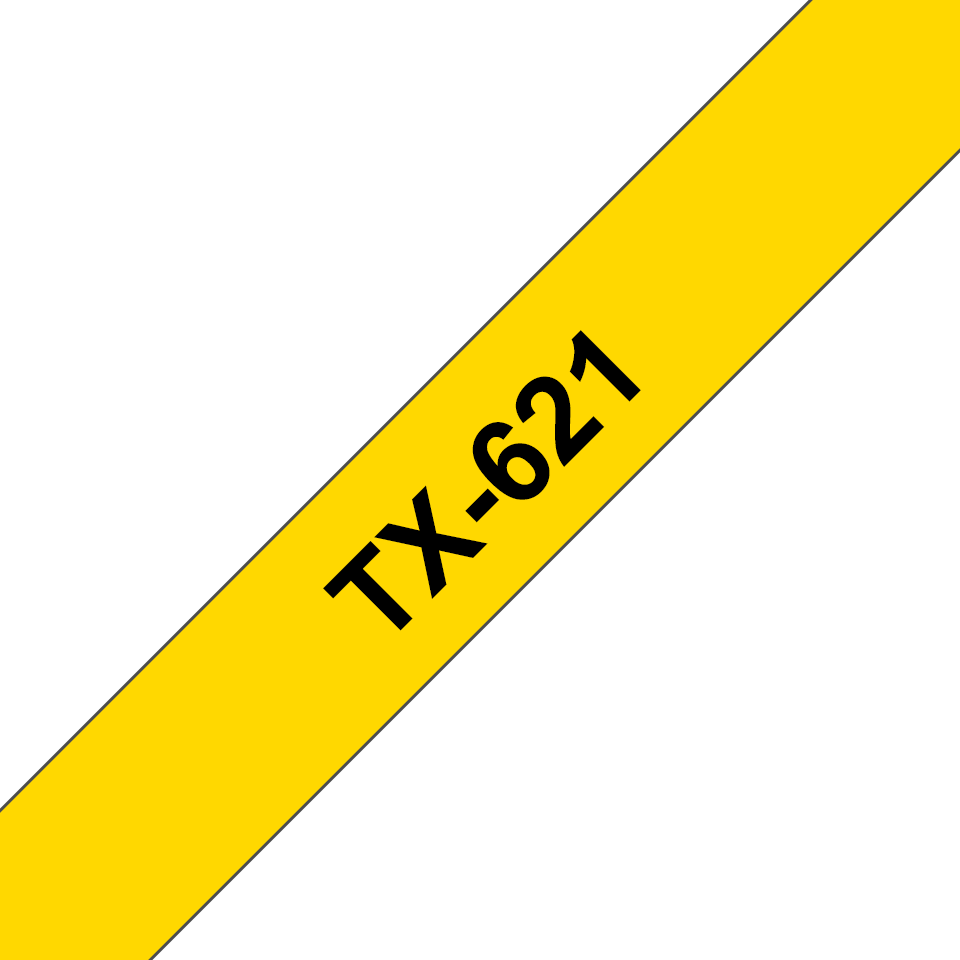 Casetă cu bandă de etichete originală Brother TX621 – negru pe galben de 9 mm lățime