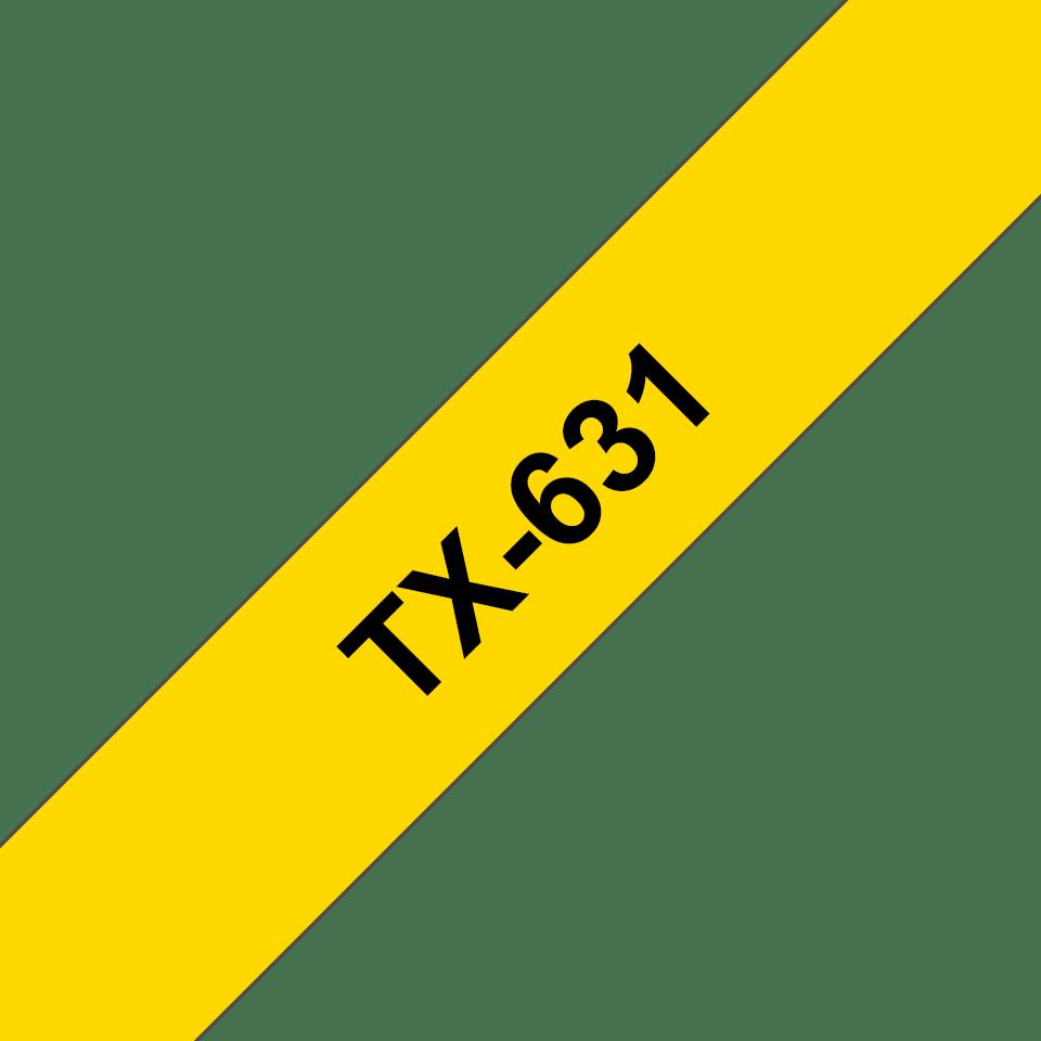 Casetă cu bandă de etichete originală Brother TX-631 – negru pe galben de 12 mm lățime