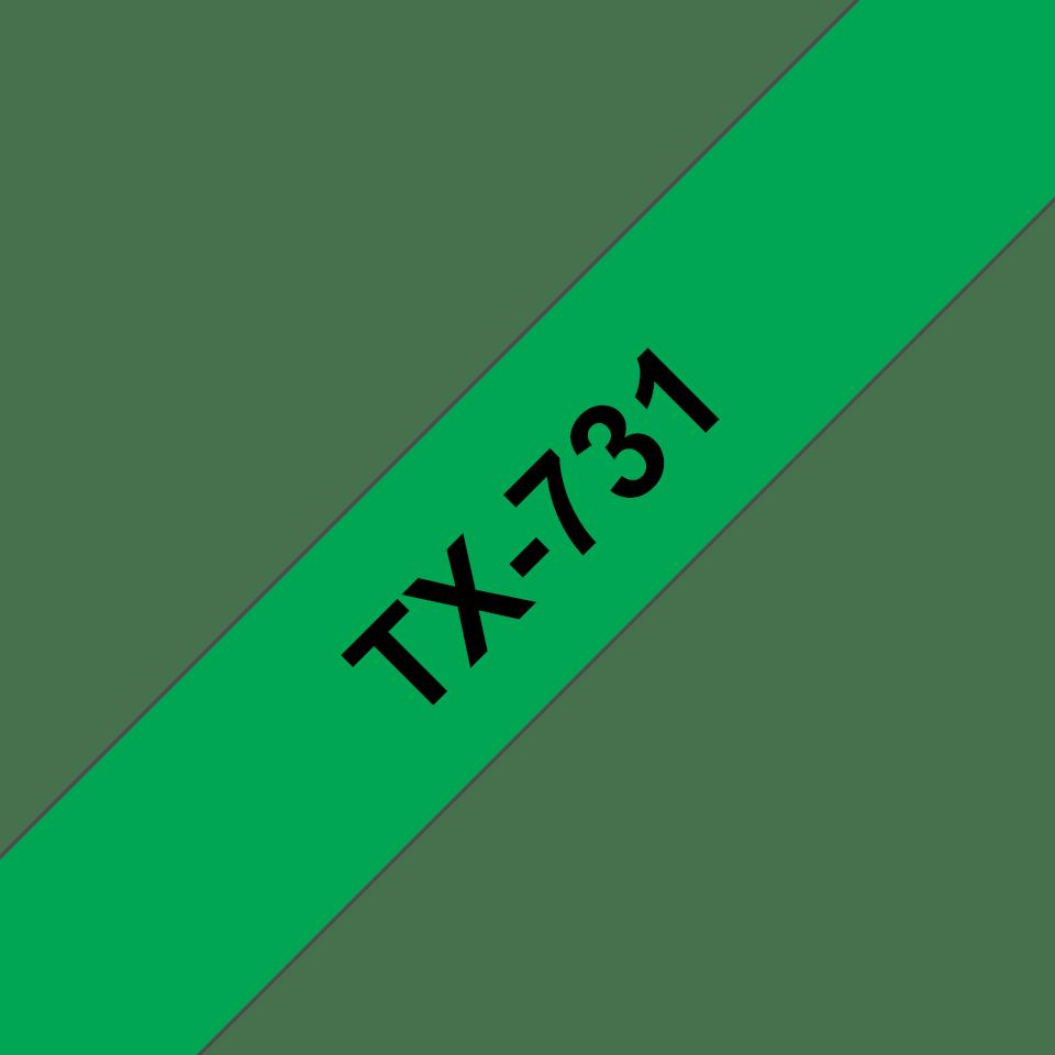 Casetă cu bandă de etichete originală Brother TX731 – negru pe verde de 12 mm lățime