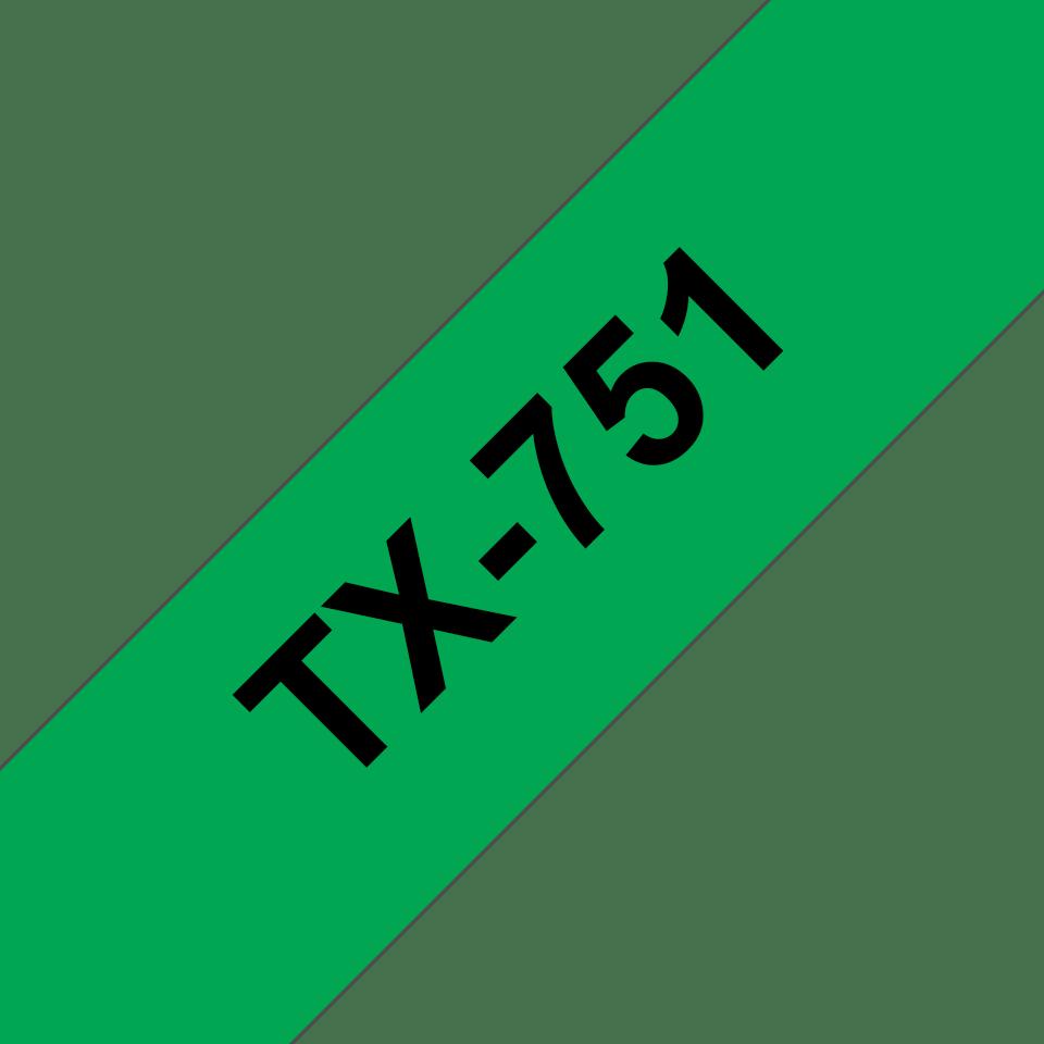 Casetă cu bandă de etichete originală Brother TX751 – negru pe verde de 24 mm lățime
