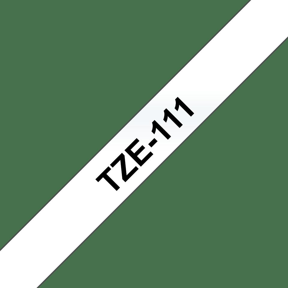 Casetă cu bandă de etichete originală Brother TZe-111 – negru pe transparent de 6mm lățime