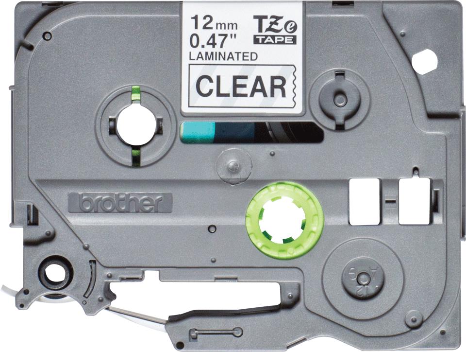 Casetă cu bandă de etichete originală Brother TZe-131S – negru pe transparent de 12 mm lățime
