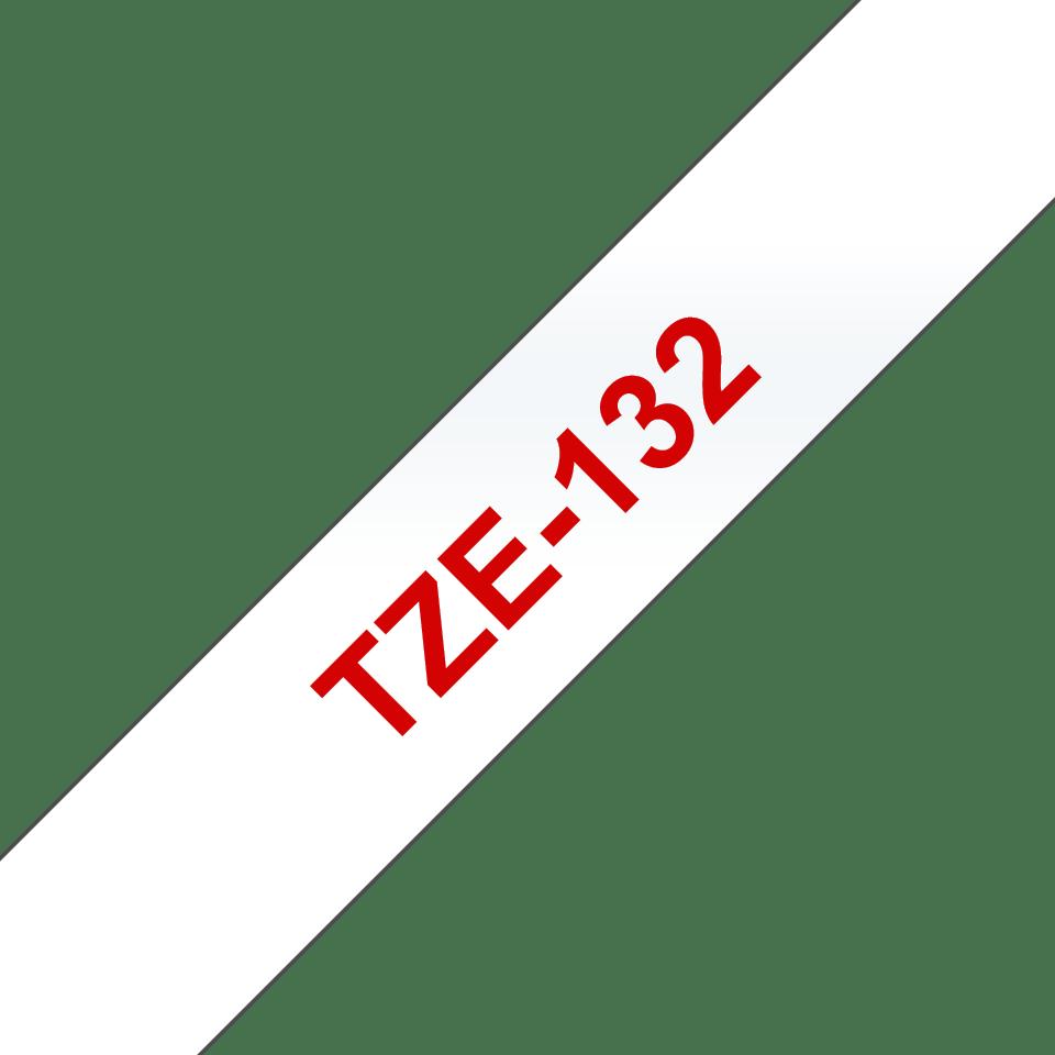 Casetă cu bandă de etichete originală Brother TZe-132 – roșu pe transparent, lățime de 12mm