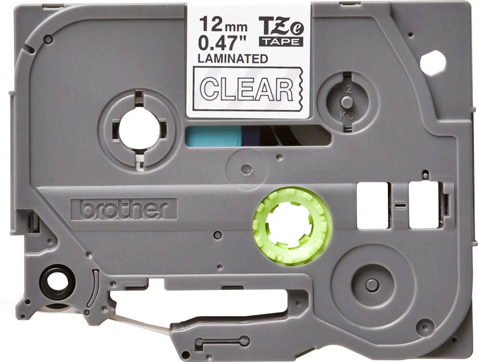Casetă cu bandă de etichete originală Brother TZe-135 – alb pe transparent, lățime de 12mm 2