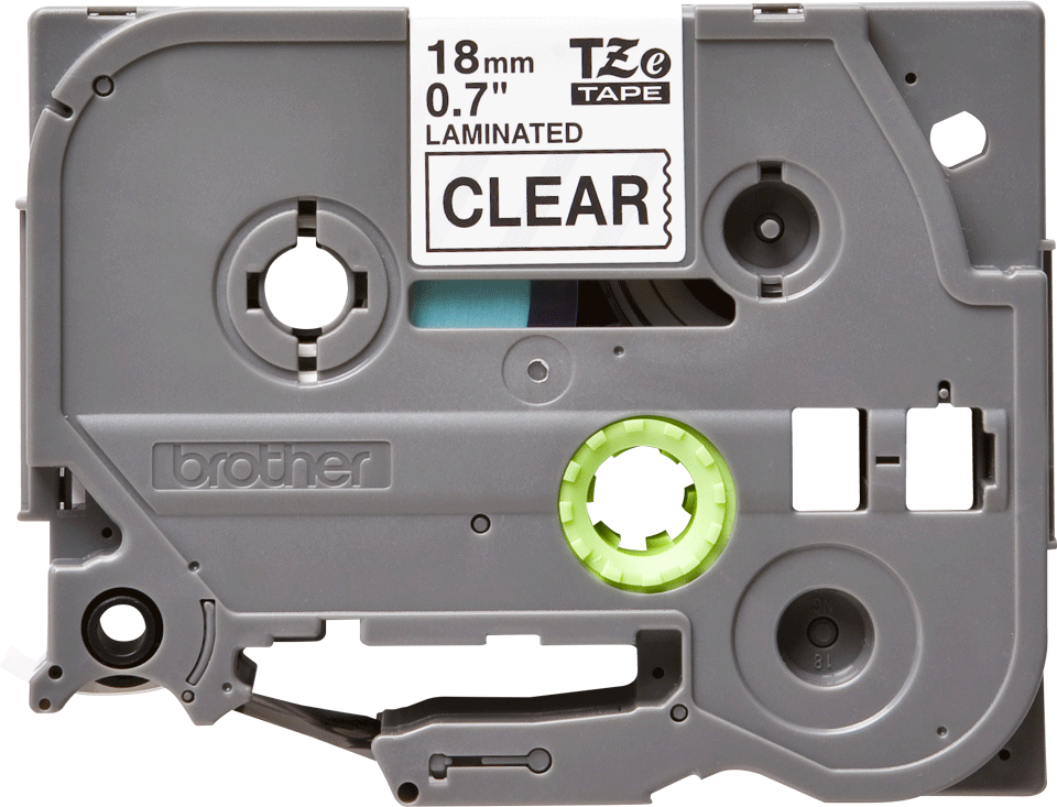 Casetă cu bandă de etichete originală Brother TZe-141 – negru pe transparent, 18mm lățime