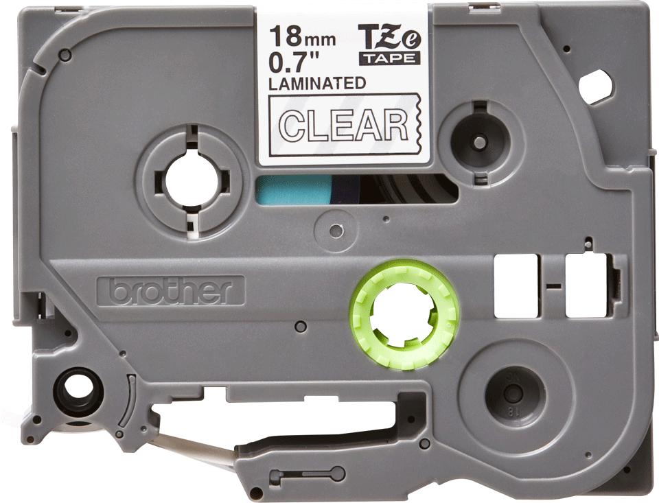 Casetă cu bandă de etichete originală Brother TZe-145 – alb pe transparent, lățime de 18mm 2