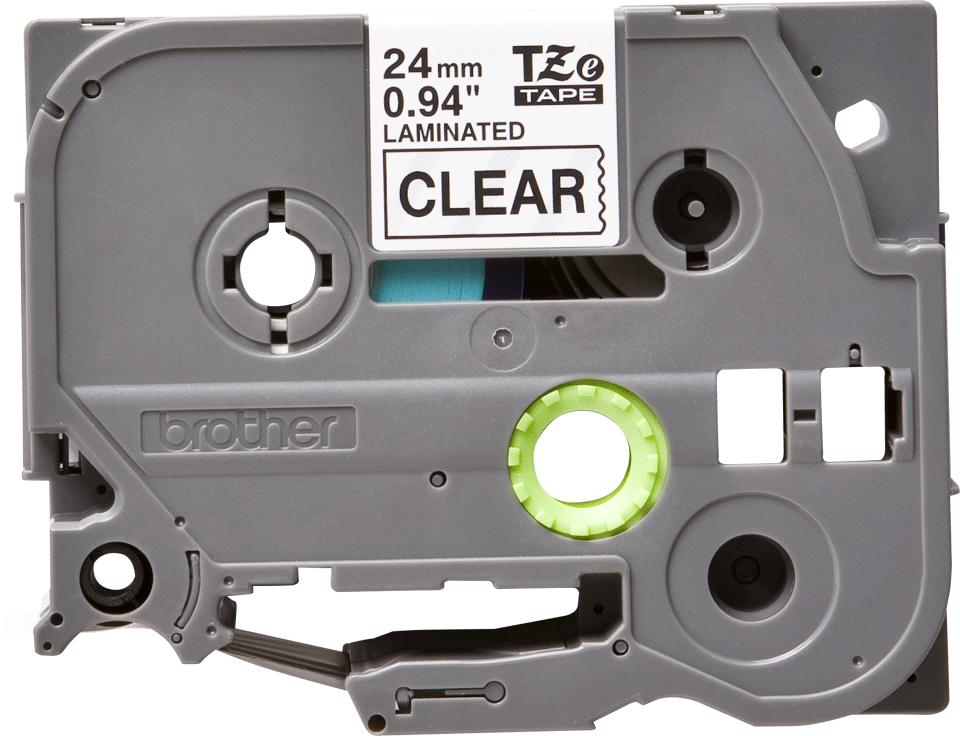 Casetă cu bandă de etichete originală Brother TZe-151 – negru pe transparent, 24mm lățime