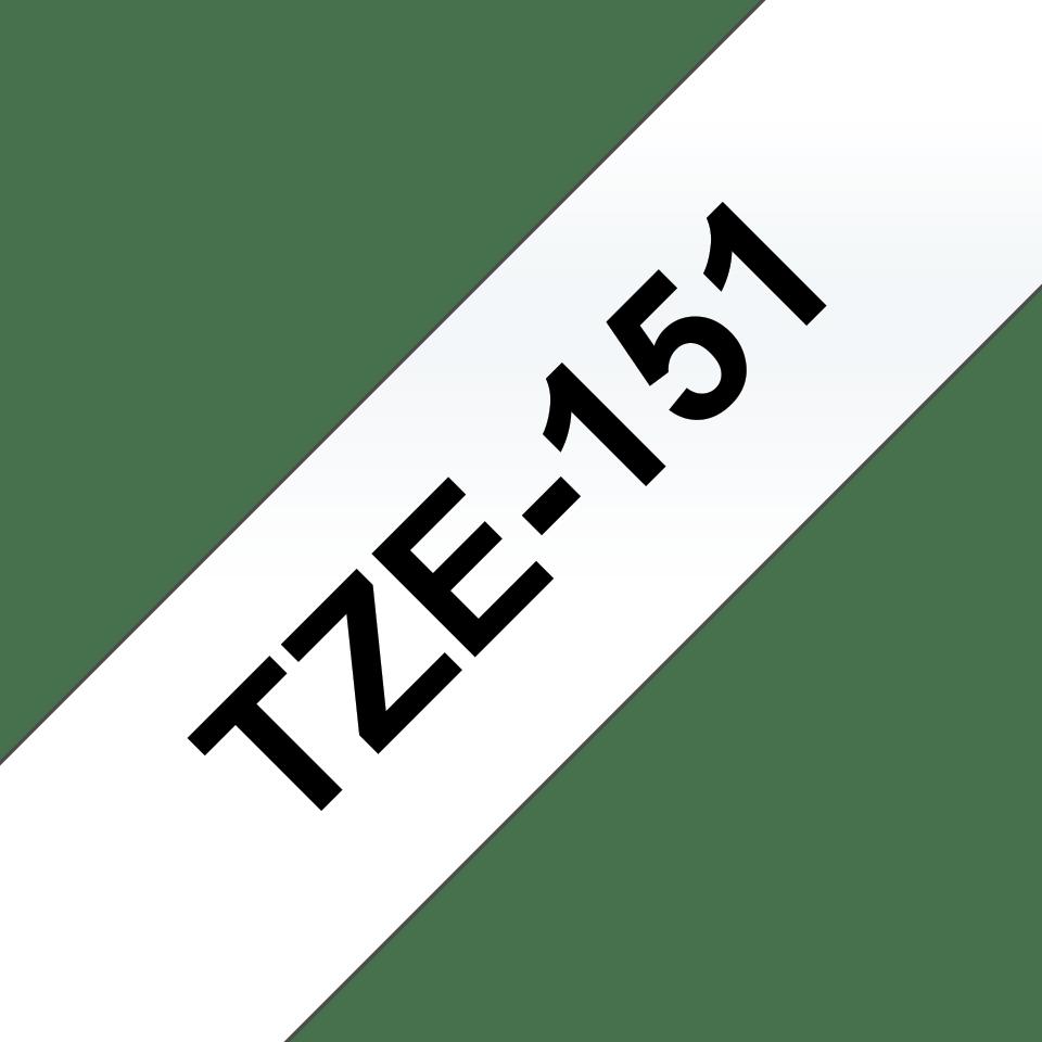 Casetă cu bandă de etichete originală Brother TZe-151 – negru pe transparent, 24mm lățime 3