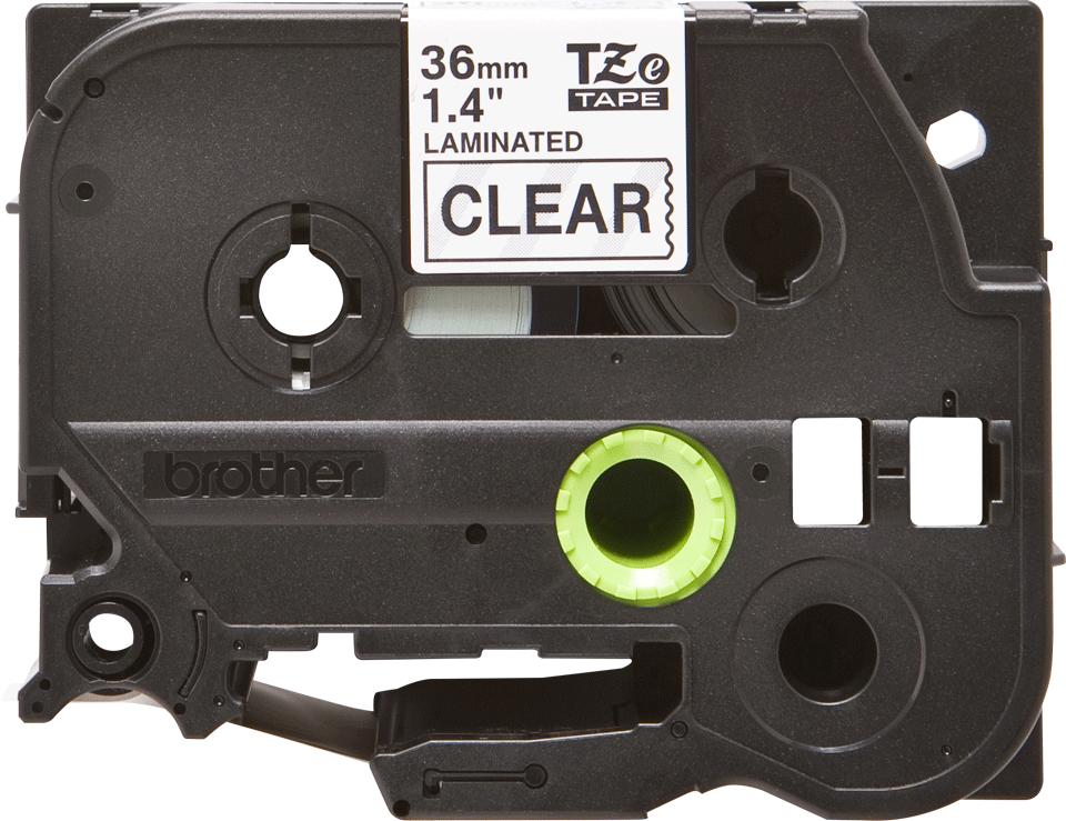 Casetă cu bandă de etichete originală Brother TZe-161 – negru pe transparent, lățime de 36mm 2
