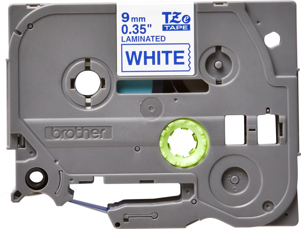 Casetă cu bandă de etichete originală Brother TZe-223 – albastru pe alb, lățime de 9mm
