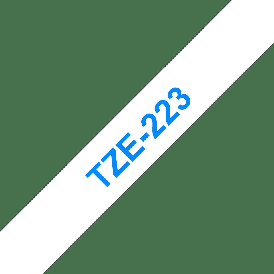 Casetă cu bandă de etichete originală Brother TZe-223 – albastru pe alb, lățime de 9mm 3