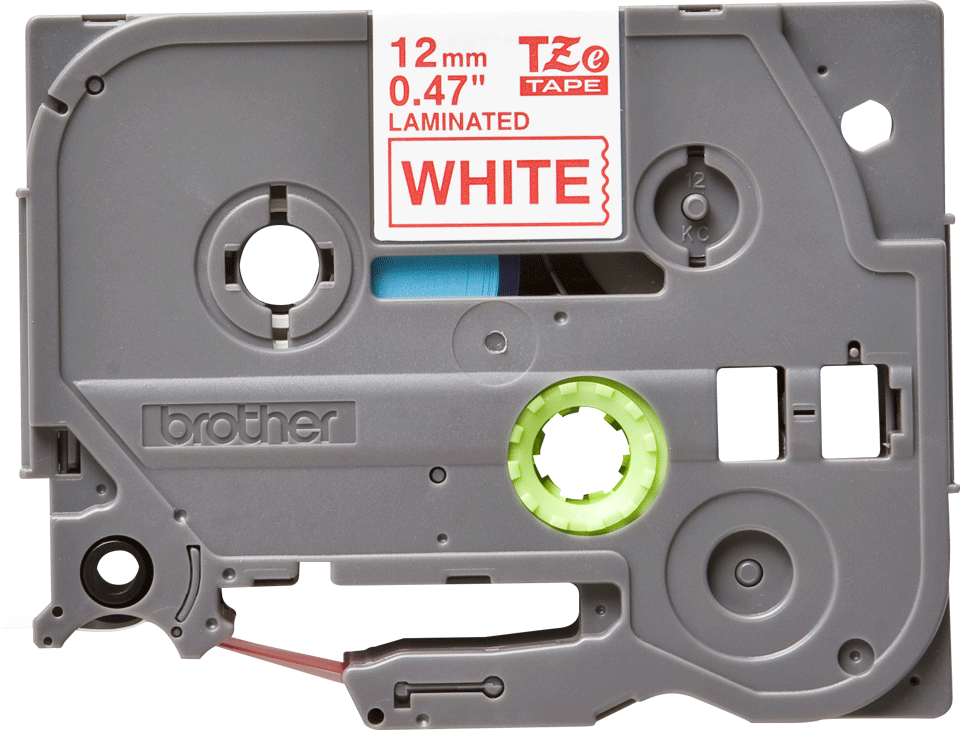 Casetă cu bandă de etichete originală Brother TZe-232 – roșu pe alb, 12mm lățime