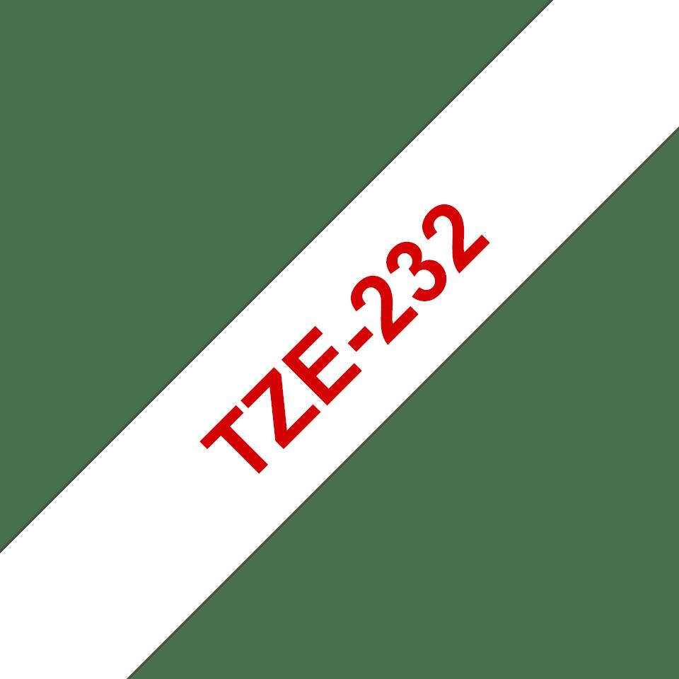 Casetă cu bandă de etichete originală Brother TZe-232 – roșu pe alb, 12mm lățime 3