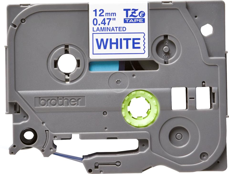 Casetă cu bandă de etichete originală Brother TZe-233 – albastru pe alb, 12mm lățime