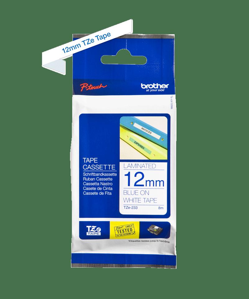 Casetă cu bandă de etichete originală Brother TZe-233 – albastru pe alb, 12mm lățime 2